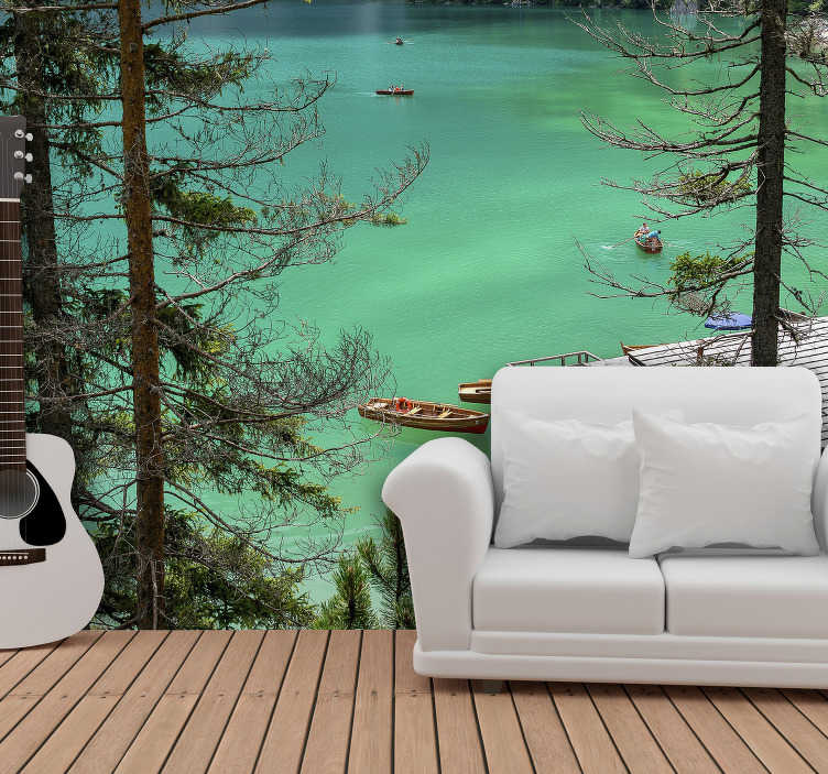TenStickers. Lake House landscape wall mural. Leave the dull and boring painted walls behind and bring harmony and joy to your walls with this sublime lake wall mural.