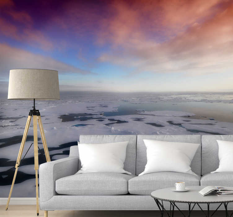 TenStickers. Northern sunset landscape wall mural. This beautiful soothing photomural can be perfectly placed in any space where you would like to relax and enjoy this beautiful image .