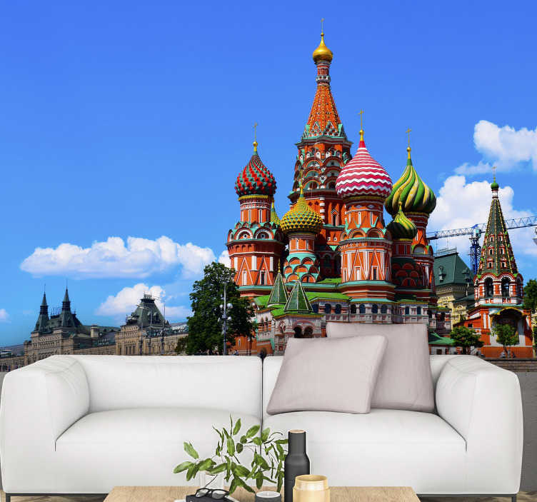 TenStickers. Red Square mural wallpaper. This large wall mural of the red square can be mounted in any room of the house. Don't wait any longer and decorate your home with this great design!