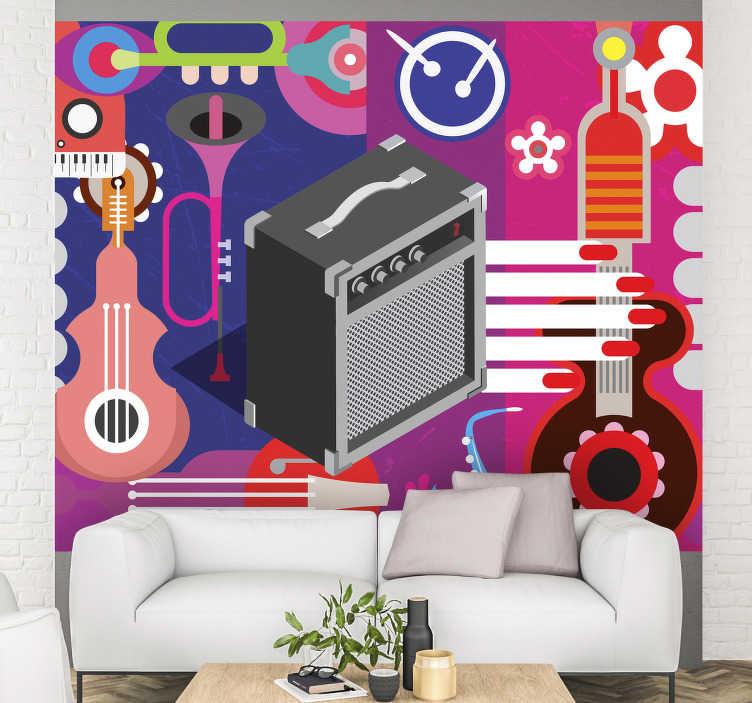 TenStickers. Retro Pop Wall Murals for Bedrooms. Complete your love for this style of music by taking this adhesive wall mural in your home on which different musical instruments are depicted.