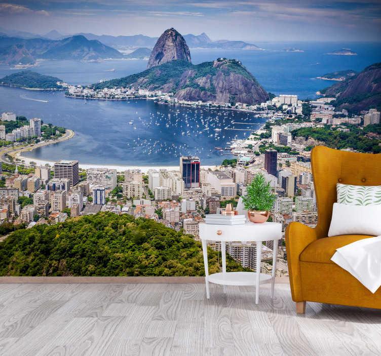 TenStickers. Fotomural de cidades do Rio de Janeiro. Aproveite este grande mural de parede de cidades, mostrando a maior cidade do Brasil, o Rio de Janeiro.