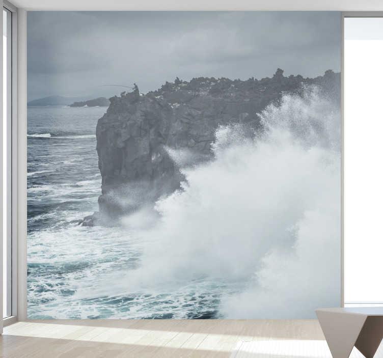 TenStickers. Mural de parede do mar Ondas da costa açoriana. Belo fotomural decorativo do mar com uma imagem das ondas na costa açoriana para decorar a sua sala de forma exclusiva.