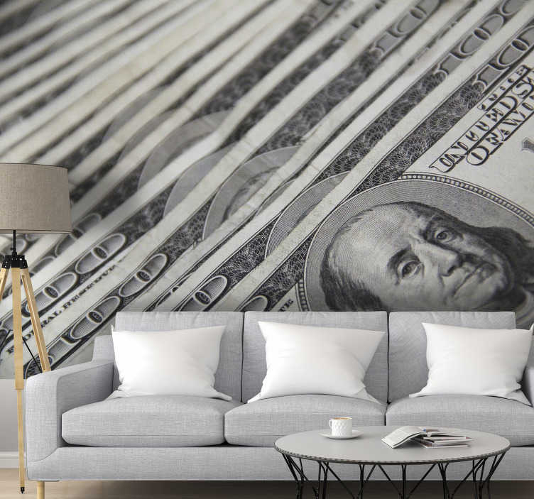 TenStickers. 100 Dollars Bank Notes modern wall mural wallpaper. With this wall mural of 100 Dollars Bank Notes, you can look at it every time and find motivation to get that money. Our wallpaper is easy to apply.