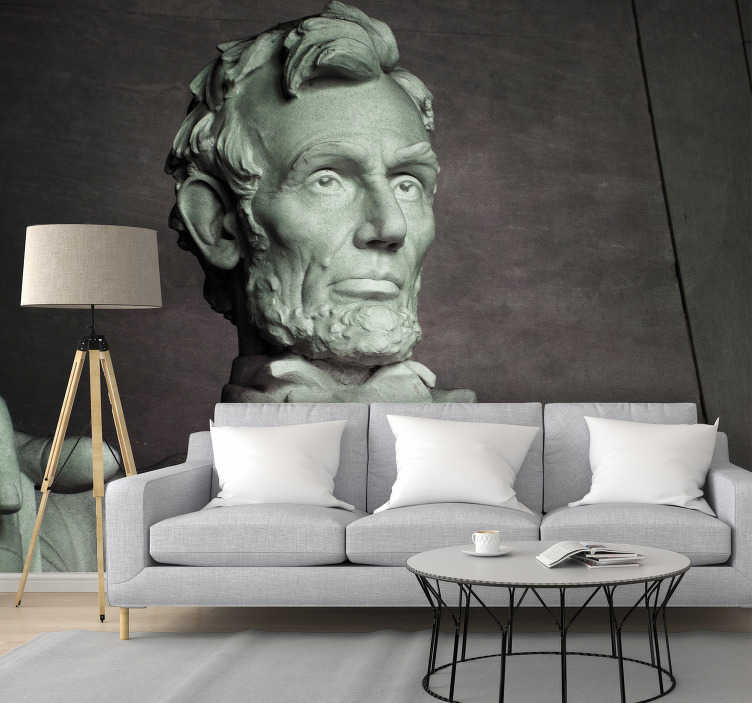 TenStickers. Abraham Lincoln Statue Art Wall Mural. Bring some of this into your home with our Abraham Lincoln Statue photo wall mural and receive your visitors in style. You will adore this!