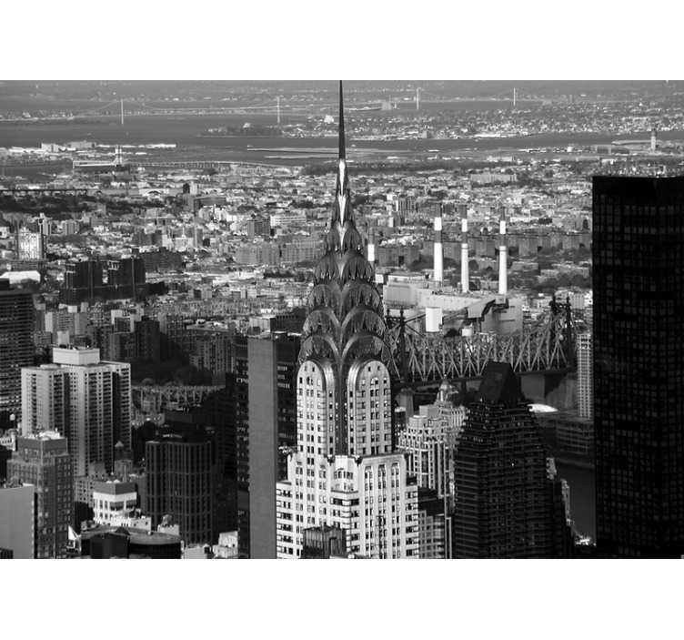 Tenstickers. Aerial empire state new york skyline veggmaleri. Med dette luftimperiet delstat veggmaleri i new york får du et forstørret syn på din favorittby new york. Vårt byfototapet er enkelt å bruke.
