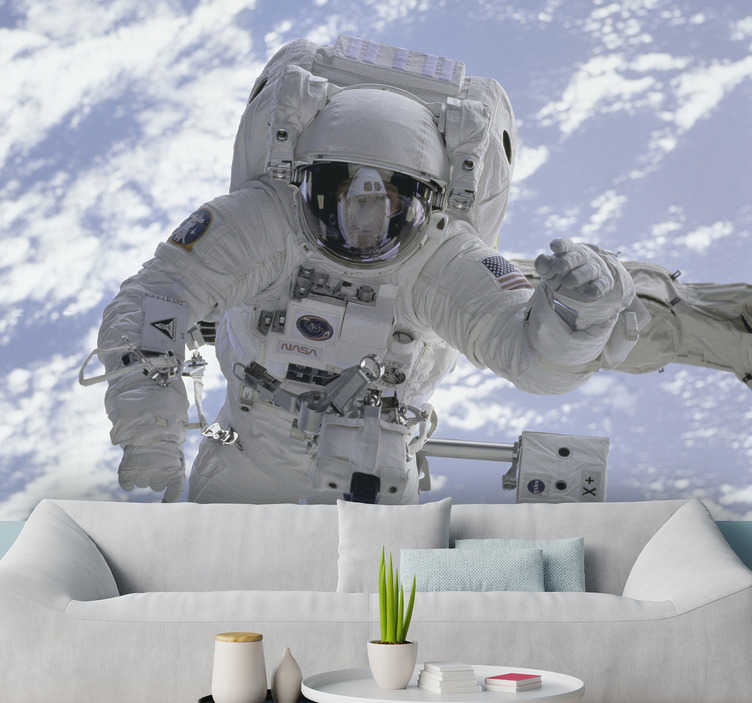 TenStickers. Austronaut in space Wall Murals for Bedrooms. This fascinating photo wallpaper shows an astronaut in outer space! If you are also a fan of the endless space then why not have a decoration with it?