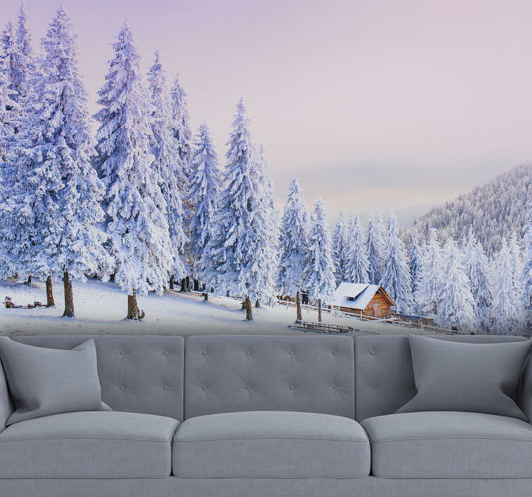 TenStickers. Beautiful winter trees and house Forest Wall Mural. With this forest scene wall mural you can bring the snow to you. It is of very high quality with matt finish, and it does not reflect the light.