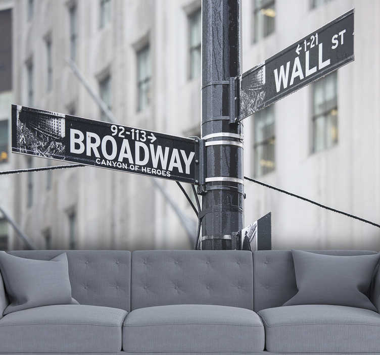 TenStickers. Broadway Sign New York wall mural. With this black and white New York Broadway Sign photo wallpaper you can renovate the room you want and give it a new look.
