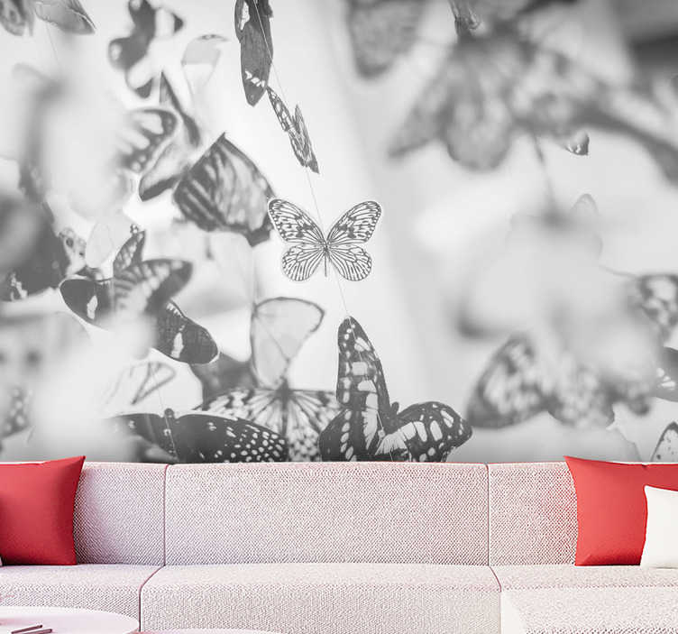 TenStickers. Photo mural butterflies gray scale. Forget about boring walls with this animal wall mural full of butterflies flying around your wall. Colours will match with any furniture you have!