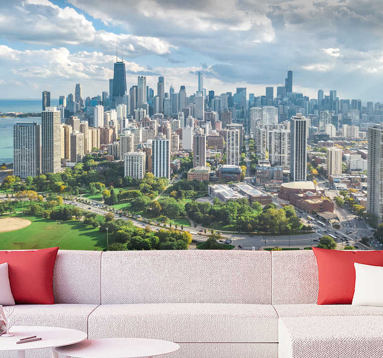 TenStickers. City wall mural Chicago City and Lincoln park. High quality city wall with Chicago and Lincoln Park is a perfect decoration for your living room or bedroom. Quick and cheap way of redecoration.