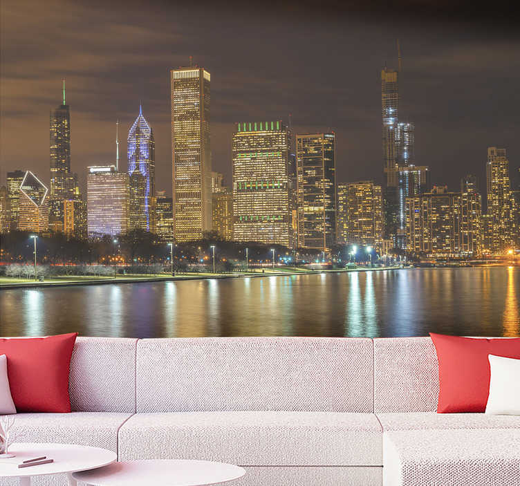 TenStickers. Chicago night with michigan lake Chicago Wall Mural. Our modern city wallpaper is made of high quality materials, is highly resistant and long lasting, which makes its application enormously easier.