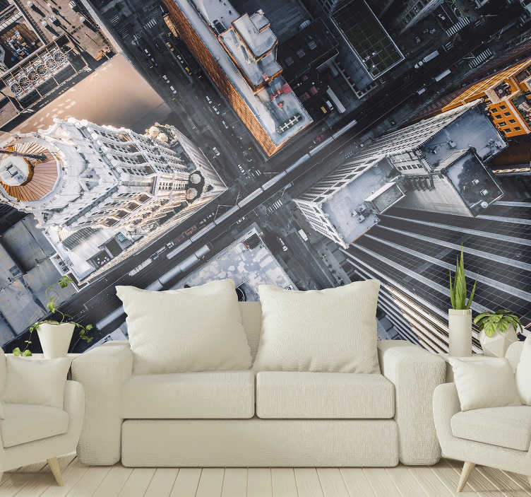 TenStickers. City aerial view mural wallpaper. On this unique city wall mural you will get an image of a nice City aerial view, which gives you a clear view of the roads and the beautiful buildings