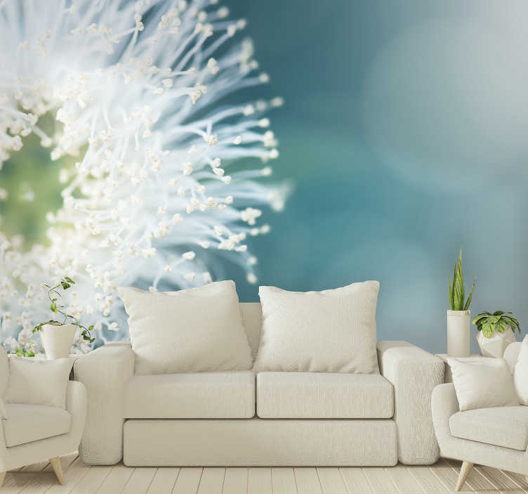 TenStickers. Flower wall mural dandelion seeds. High quality and very realistic lion teeth wall mural will look perfect in your living room or bedroom. Bring some flowers home!