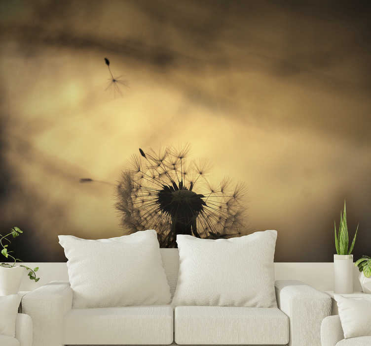 TenStickers. Flower wall mural dandelion shilouette. Lion teeth wall mural will make your interiors full of nature and positive vibes. Order this high quality image now and do not regret your choice!
