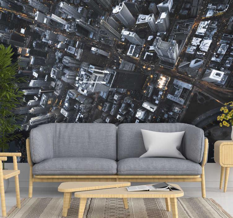 TenStickers. Eye view van hoogbouw gebouw muurschildering behang. Ons moderne stadsbehang is gemaakt van hoogwaardige materialen, is zeer bestendig en gaat lang mee, wat het aanbrengen enorm vergemakkelijkt.