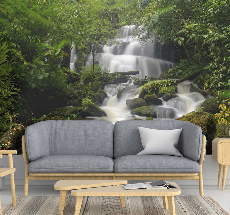 TenStickers. Forest and waterfalls landscape wall mural. Our photo wallpaper of the forest is easy to apply, and you can also buy an application kit if you do not have the necessary equipment to apply it.