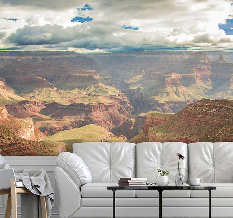 TenStickers. Gran Canyon Landscape wall mural. This Gran Canyon Landscape photo mural gives you a beautiful aerial view of the desserts that are beautifully depicted on a sunny day.