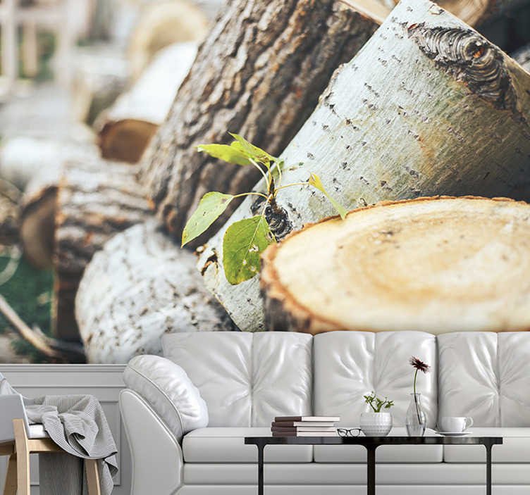 TenStickers. Green leaves on forest wood landscape wall mural. This trees wallpaper photo is of very high quality with a matte finish. It does not reflect the light. Our photo mural of the trees is easy to apply.