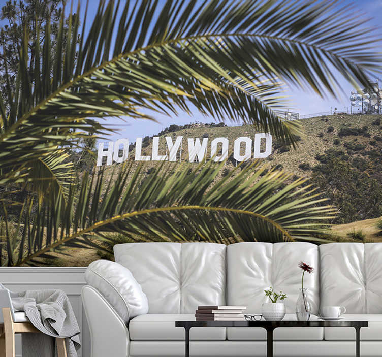 TenStickers. Hollywood Sign and Tree mural wallpaper. This Hollywood sign wallpaper photo is of very high quality with a matte finish. It does not reflect the light. Our photo wallpaper is easy to apply.