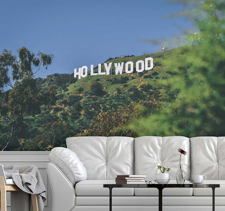 TenStickers. Hollywood Sign mural wallpaper. This Hollywood sign wallpaper photo is of very high quality with a matte finish. It does not reflect the light. Our photo wallpaper is easy to apply.