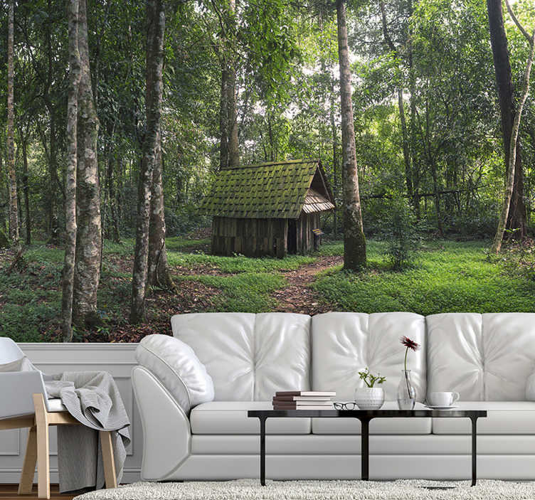 TenStickers. House in Middle of Forest photo wallmural. This forest photo wall mural is especially for all our forest lovers! With it you can imagine that you can move into your favorite environment.