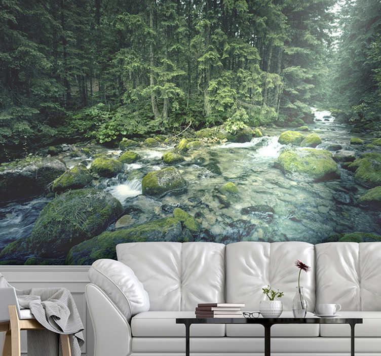 TenStickers. 绿树成荫的森林和河流照片墙壁画. 这张绿树成荫的森林和河流照片墙壁画为您提供美丽的景色,您可以在所需的墙壁上欣赏这种外观。