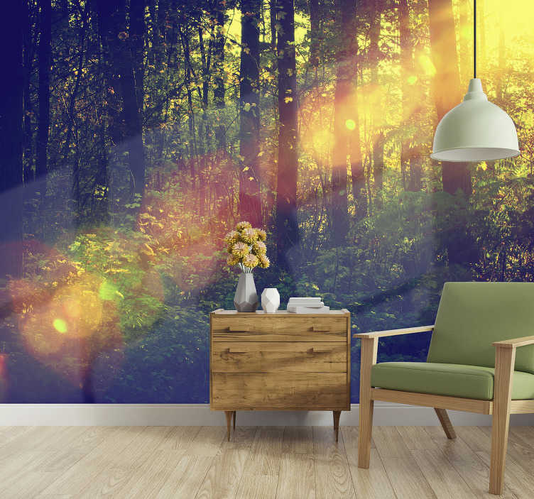 TenStickers. Forest mural leafy woodland. If you are you a nature lover this forest scene wall mural is perfect for you. There are many green trees and sun rays around.