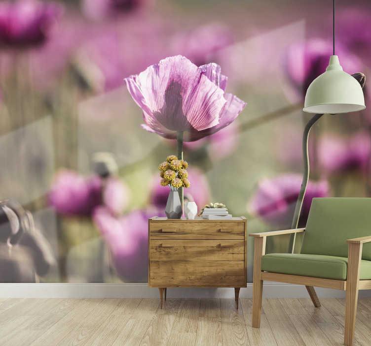 TenVinilo. Papel mural de flores amapolas lilas. Descubre una forma moderna e innovadora de decorar tu pared con este fotomural de flores con amapola lila ¡Compre en el tamaño que necesite!