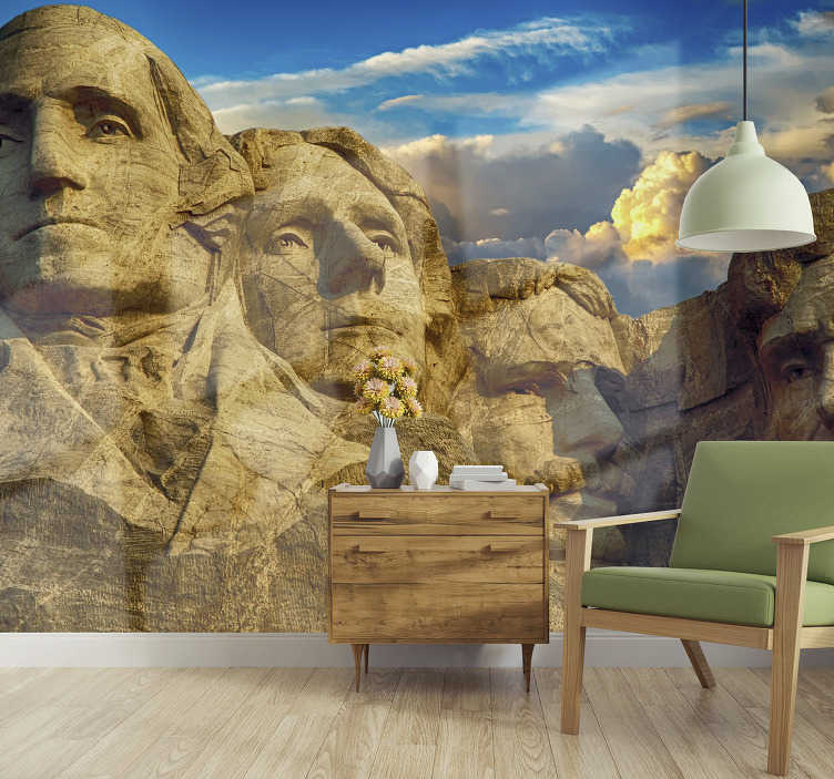 TenStickers. Art Wall Mural Mount Rushmore. Transform your bedroom or living room with this stunning sculpture of Mount Rushmore on the art wall mural. High quality image!