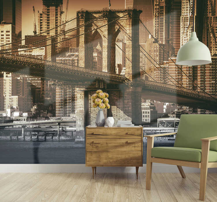 TenStickers. New York bridge photo wall mural. Here you get the view of a New York bridge photo wallpaper in an outdated view. Add some history of the world famous city to your living room.