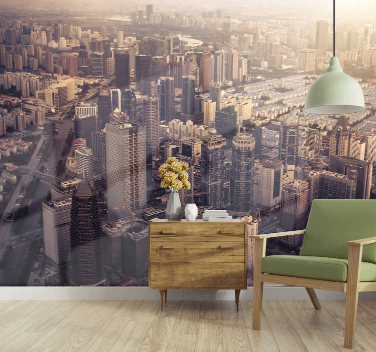 TenStickers. New York cityscape skyline wall mural. Take a look at this beautiful aerial mural of New York's tall buildings that gives a beautiful look in daylight. High quality material.