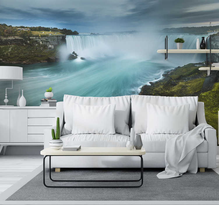 TenStickers. Niagara waterfall landscape wall mural. With this beautiful and unique Niagara waterfall photo mural you can create the appropriate finish for your walls. You will love it!