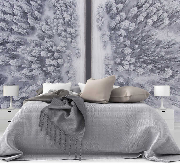 TenStickers. Road and snowy forest scenery photo wallpaper. What a winter wonderland! A beautiful forest wall mural with a road and snowy trees. Your friends will be very impressed!