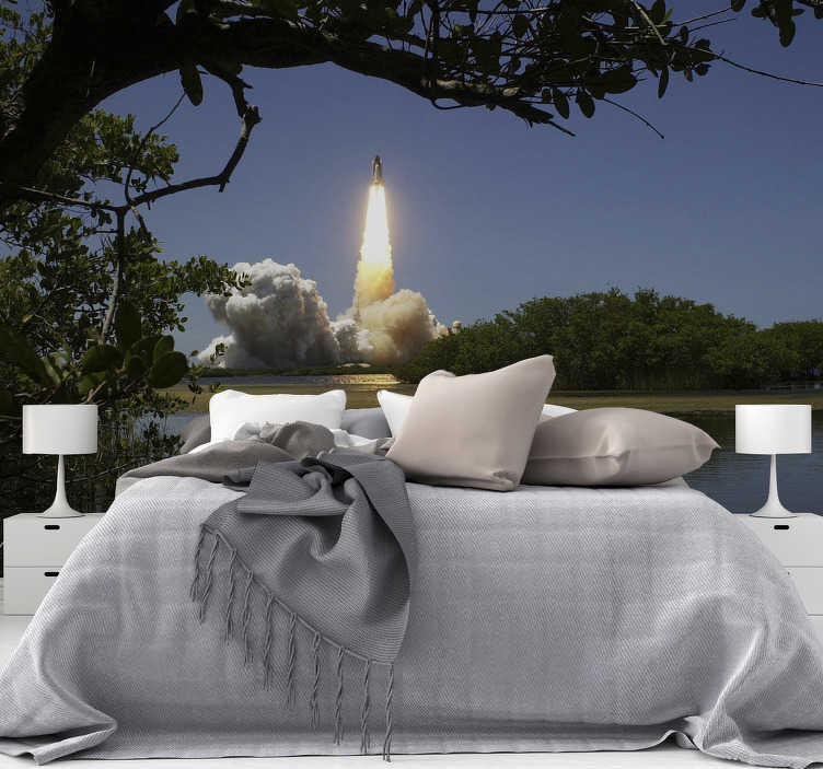 TenStickers. Flying rocket Wall Murals for Bedrooms. Create a magical atmosphere in your home with our Flying rocket photo wallpaper, and imagine this fantastic moment over and over again.