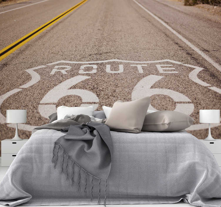 TenStickers. Route 66  wall mural for bedrooms. The most famous road in the entire world! This Route 66 landscape wall mural is the ideal choice if you want to be reminded of freedom in your home.