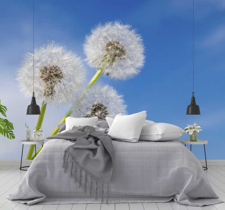 TenStickers. Three dandelion flowers wall mural. Order this flower mural with three dandelions and appreciate their beauty in your living room or any other room. Choose the size you need!