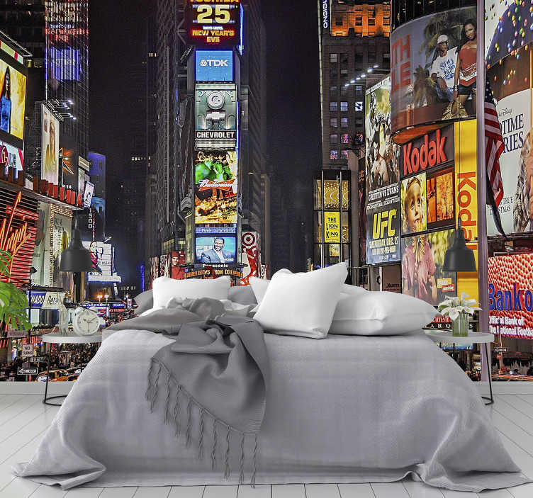 TenStickers. Times Square New York skyline wall mural. Travel every day to Times Square, New York City's most visited spot with this magnificent New York wall mural. Make your home an original place.