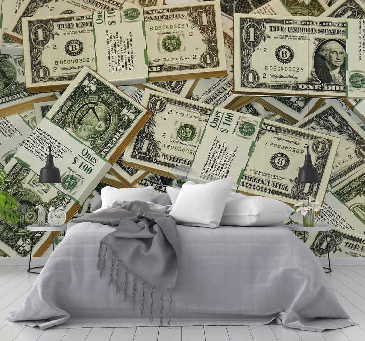 TenStickers. US Dollars City wall mural. Spectacular modern wall mural with US dollar bills, an original way to decorate the walls of your home! Personalized sizes.