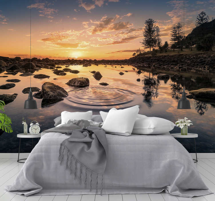 TenStickers. Water Lake landscape wall mural. Observe the sound of water on this beautiful lake wall mural made with a high quality image. Register to get a 10% discount!