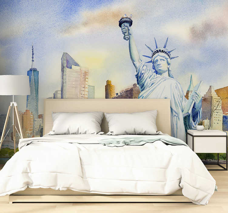 TenStickers. Watercolor Statue Liberty  in Manhattan New York wall mural. If you love New York as much as we do, you will definitely fall in love with this city wall mural. Famous symbols in a watercolour style!
