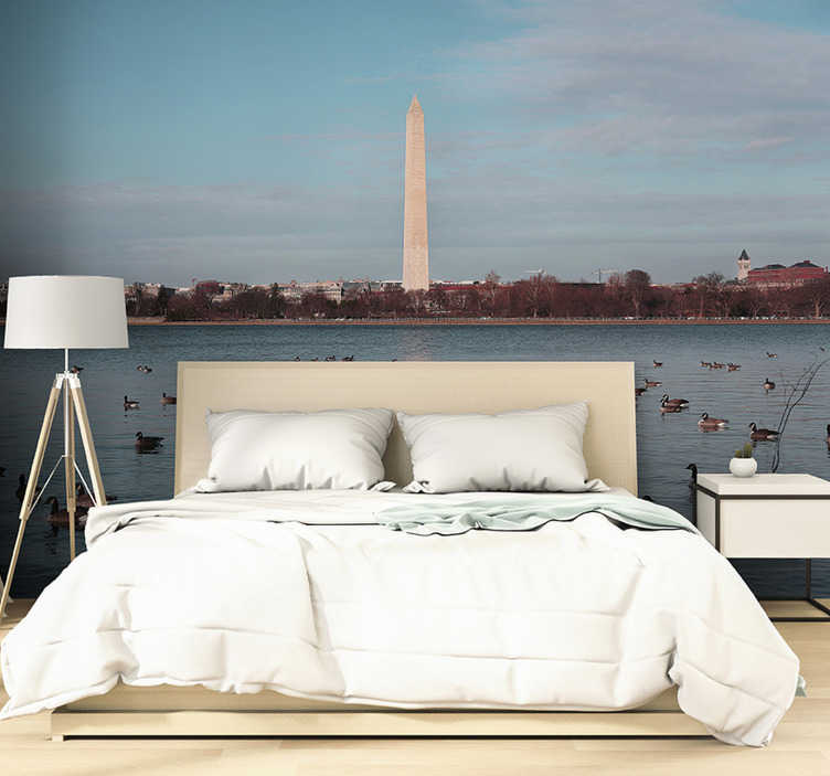 TenStickers. Washington Monument mural wallpaper. This bedroom wall mural is presenting a stunning obelisk in Washington. This project is so realisitc as we only use best quality photos!