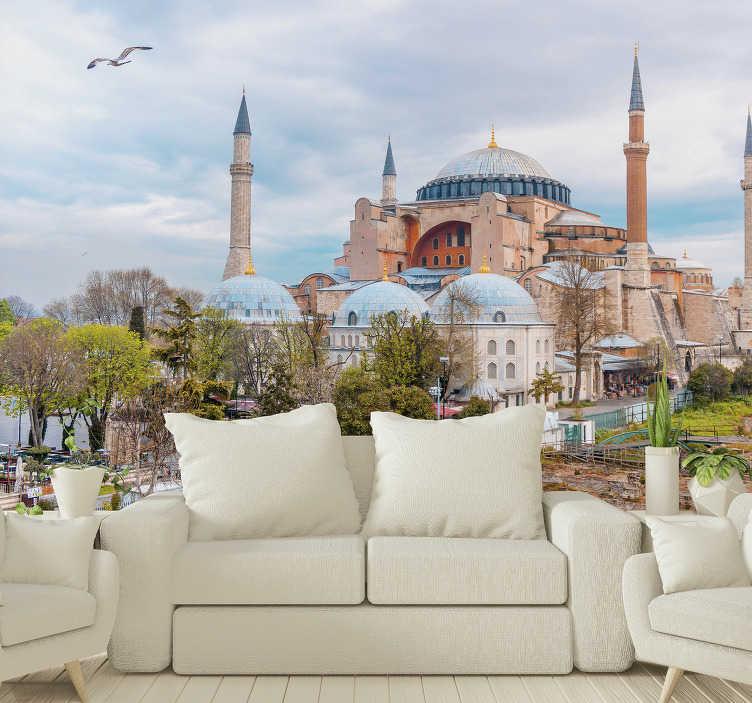 TenStickers. Ayasofya tematik duvar kağıdı. Ayasofya'nın şehir duvar resmi, istambul'da, yatak odanızın veya oturma odanızın duvarlarını yenilikçi ve orijinal bir şekilde dekore etmek için mükemmel!