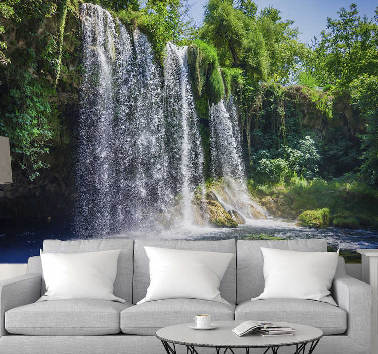 TenStickers. Waterfall landscape wall mural. This photo wallpaper gives you a beautiful view of a Waterfall in the city of Antalya. Relax with this beautiful waterfall wallpaper on your walls.