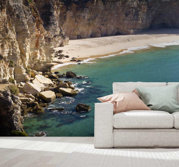 TenStickers. Mural de parede do mar Praia do Barlavento Algarvio. Não há nada melhor que este fotomural decorativo de mar de uma praia do Barlavento Algarvio na sua sala ou no seu quarto.