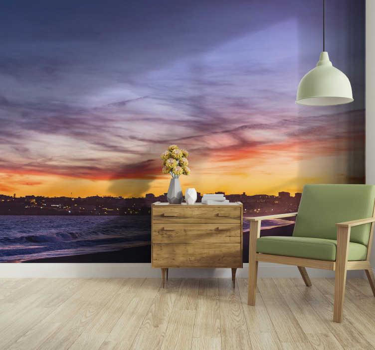 TenStickers. Mural de parede decorativo de cidades Praia de lagos. Aproveite este fotomural de parede da Praia de Lagos ao anoitecer. Esse belo produto ficará ótimo no seu quarto!