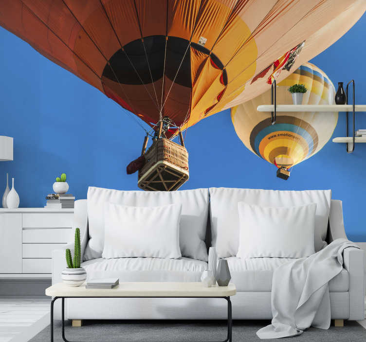 TenStickers. Ponte Sor Ballonns landscape wall mural. With this sky wall mural you can fly in the hot air baloon above the beautiful landscape of Portugal, Ponte Sor. High quality image!