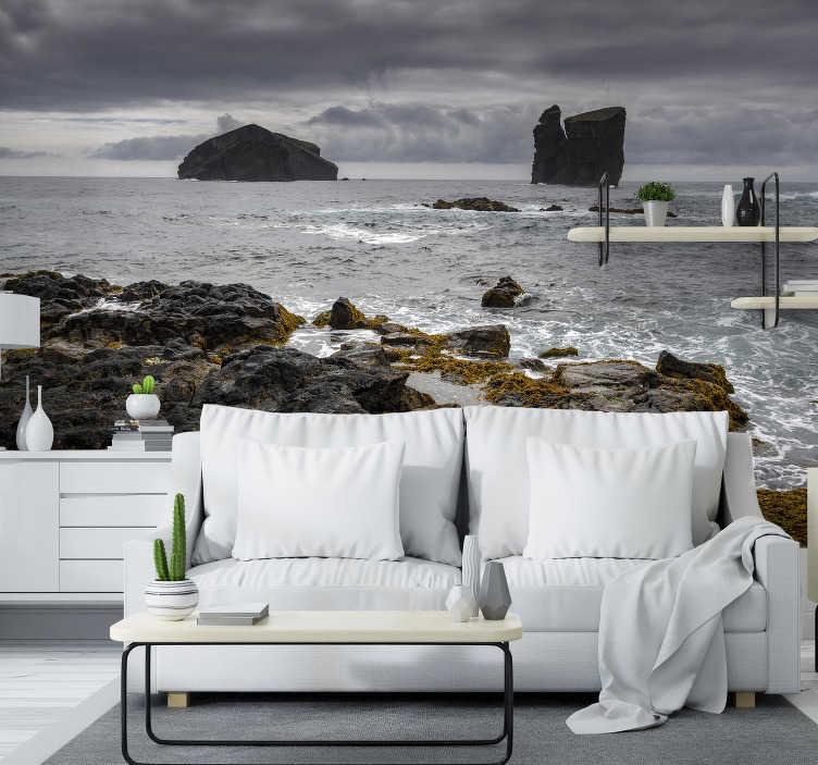 TenStickers. Mural de parede decorativo de paisagens vista para o mar. Aqui pode desfrutar de um belo fotomural vinílico de parede com a vista para o mar de são miguel, onde pode apreciar uma bela imagem de rochas.