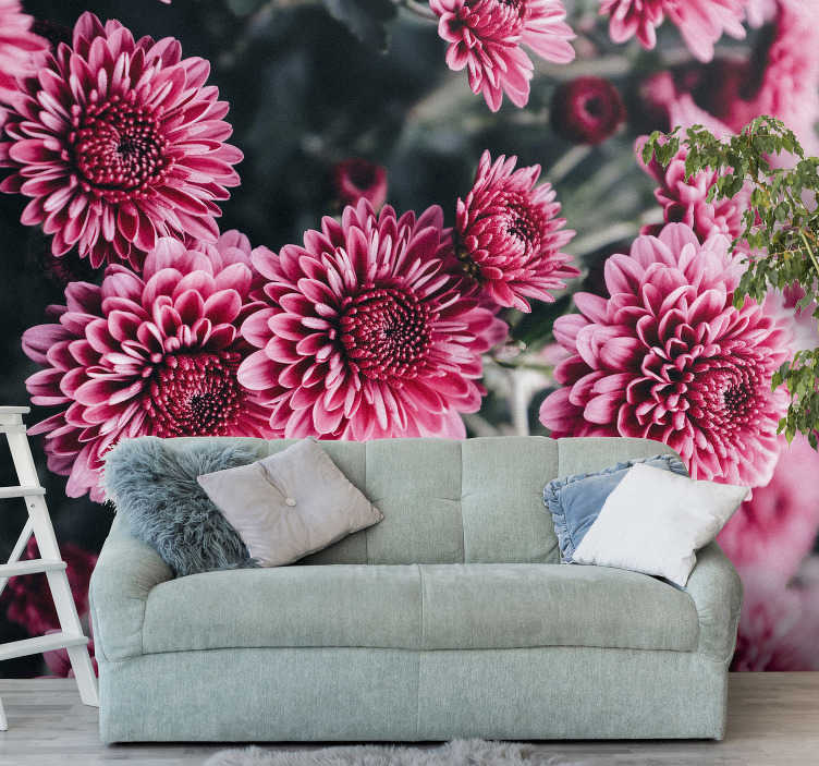 TenStickers. Beautiful pink flowers mural wallpaper. Add this photo wallpaper with pink flowers to the room and create a floral finish on your walls. Especially for our flower lovers!
