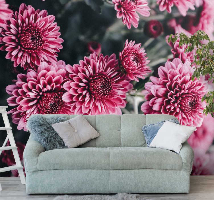 TENSTICKERS. 美しいピンクの花の壁画の壁紙. 部屋にピンクの花でこの写真の壁紙を追加し、壁に花の仕上げを作成します。特に私たちの花愛好家のために!
