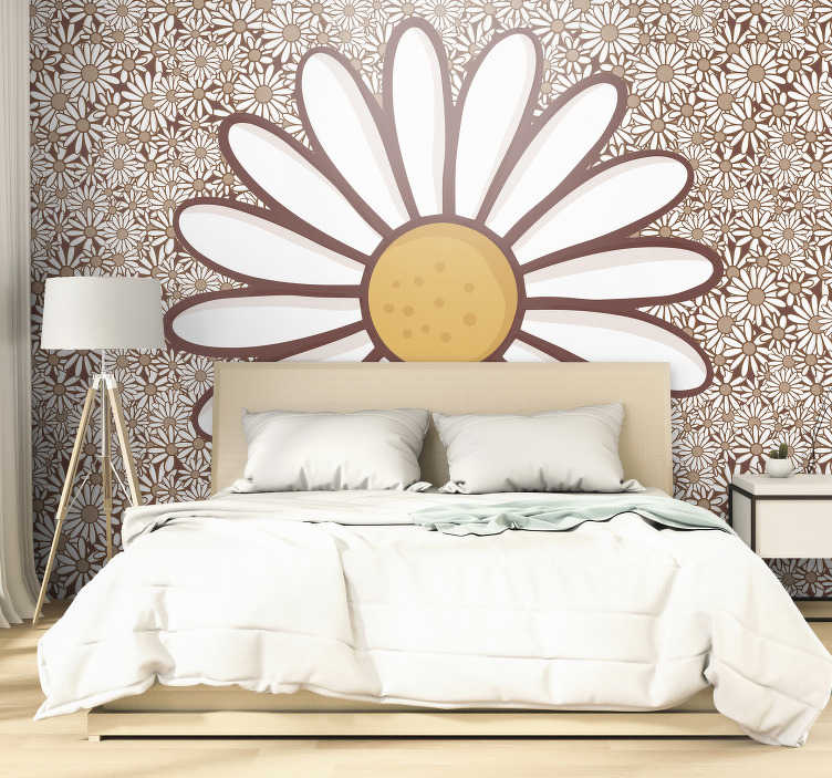 TenStickers. Daisy flower photo wall mural. Decorate the walls of your house with this beautiful large Daisy flower photo wallpaper, next to which there are smaller Daisy flowers.